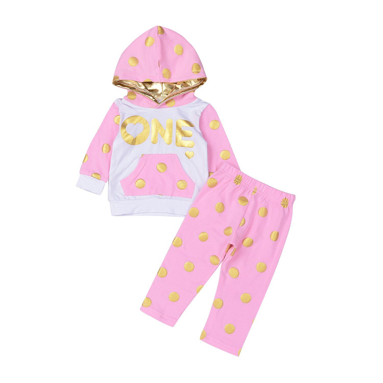 c5d4e443a Mikrdoo Outono Inverno Conjuntos de Roupas de Bebê ONE Gold Dot Hoodies Da  Criança Dos Miúdos Da Menina do Hoodie Tops Rosa Calças Compridas Roupas  Ternos 2 ...
