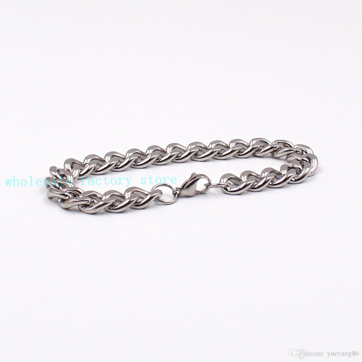 Forti gioielli 10mm / 15mm Argento Heavy Link Cuban Curb Chain Necklace Bracciale in acciaio inossidabile Set di gioielli con moschettone