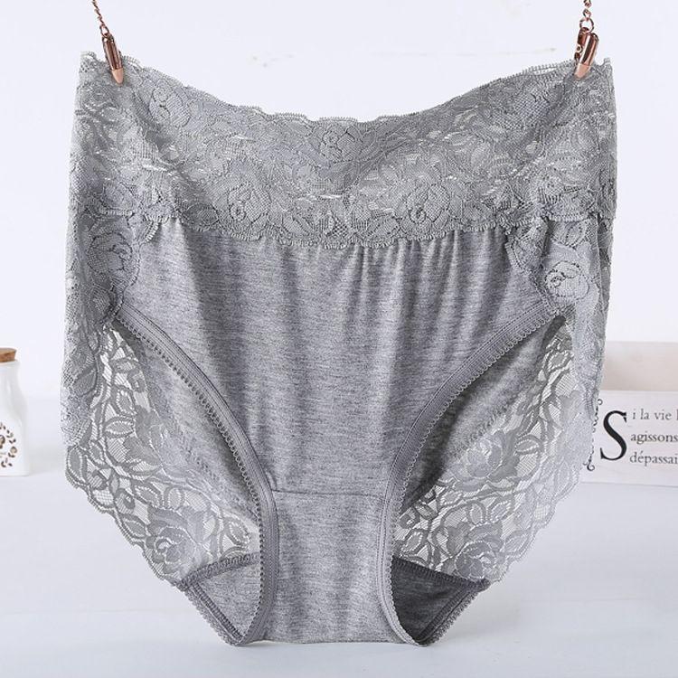 XXL size Pure Color Lace Hollow Panties Large Size High Waist Briefs Women Underwear XL Size Undies X-Large Hiphuggers for Female