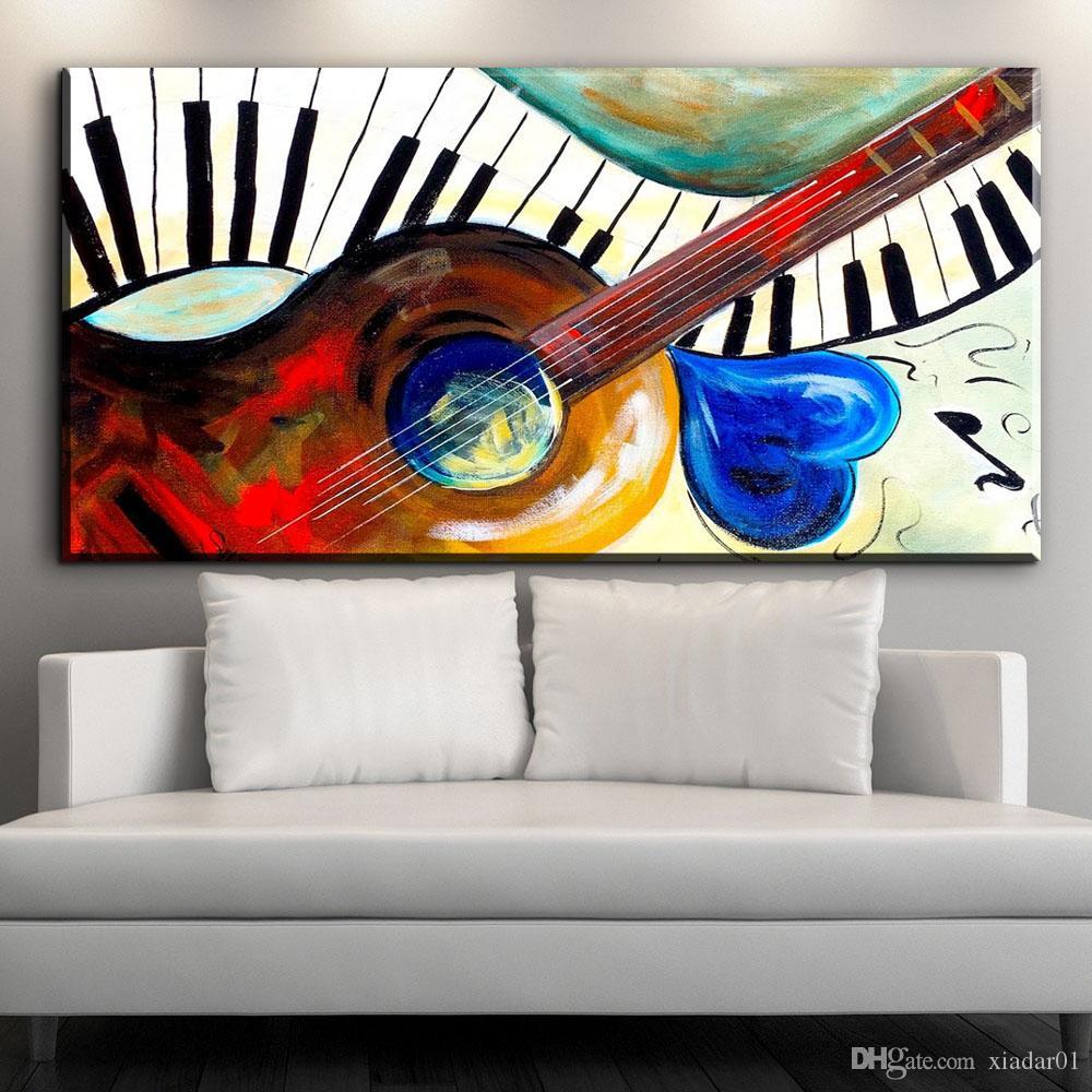 Satın Al Zz1048 Modern Soyut Müzik Sanat Renkli Gitar Tuval