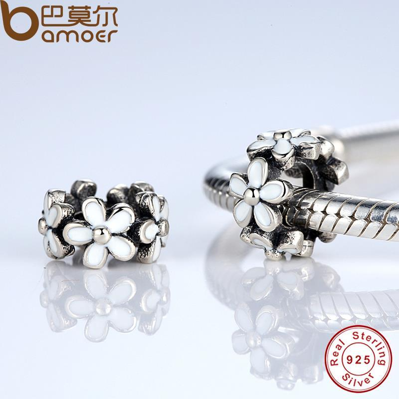 01356ea45 2019 Pandora Style Darling Daisy Spacer, White Enamel Lovely Warm Gift  Charms Fit Original Bracelet Necklace Pure 925 Silver Beads PAS144 From ...
