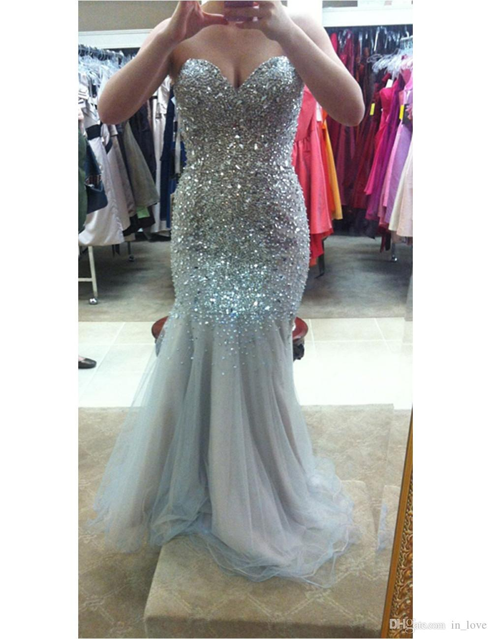Sparkly Long Mermaid Gray Evening Dresses Diamonds Crystals Beads Sequins Tulle Luxury Shiny Party Dresses Custom Size