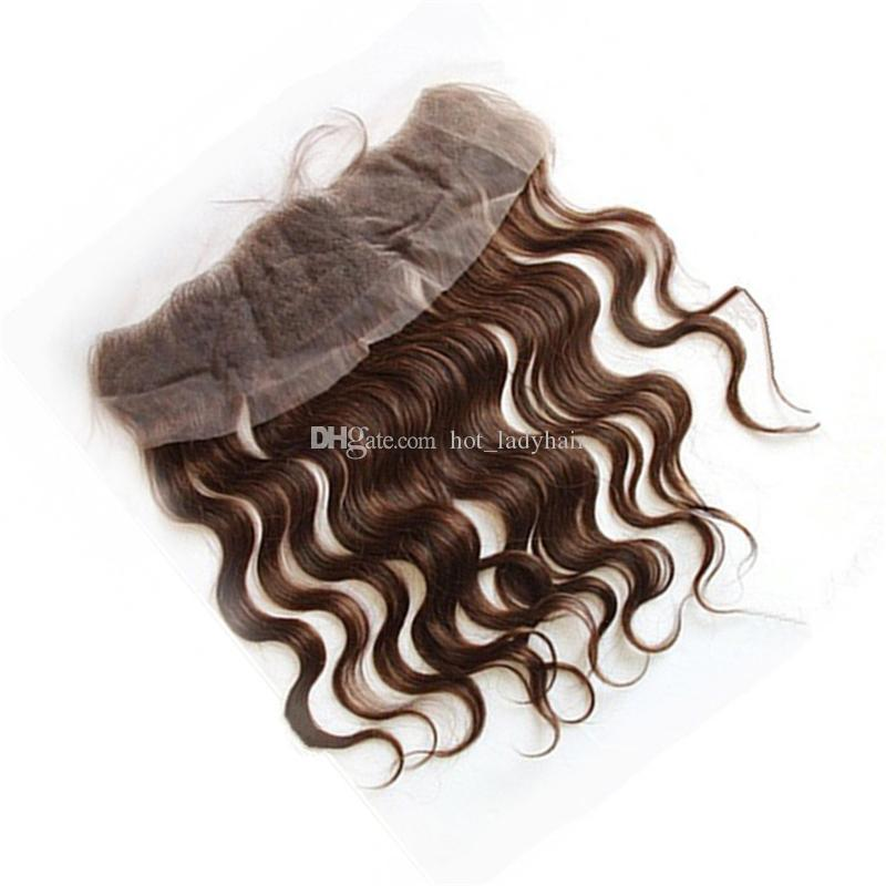 Chestnut Brown Peruvian Virgin Hair Bundles With Lace Frontal Closure Color #4 Medium Brown Human Hair Body Wave Weaves With Lace Frontal