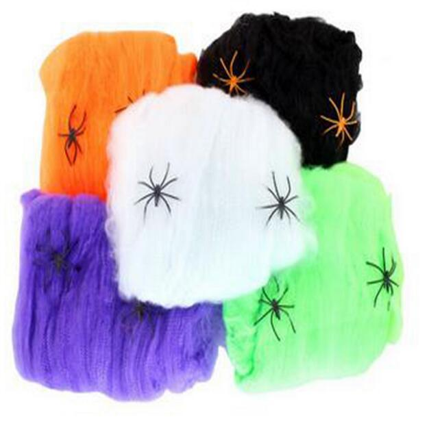 White Stretchy Spider Web Halloween Decoration Horror DIY Cobweb Scary Party Supplies Prop For Bar Haund Home Horror G782