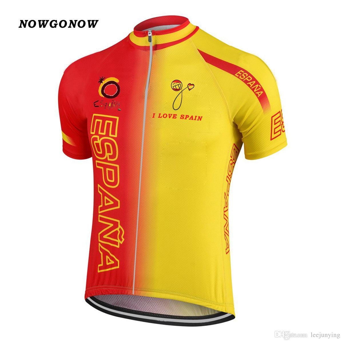 Мужчины 2017 Испания национальная команда велоспорт Джерси комплект велосипед одежда носить желтый красный национальная команда Майо ciclismo нагрудник гель pad шорты