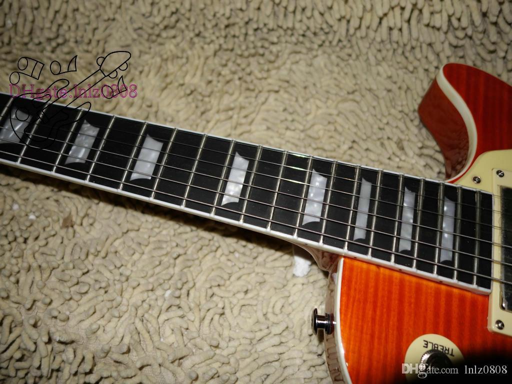Оптовая гитары гитары гитара завод новейшие пользовательские электрогитары пламени Эбони гриф гитары из Китая