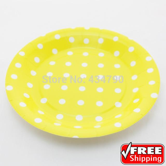 Wholesale-9 Yellow Paper Plates Round White Polka DotTheme Party Dinner Cake Dessert Serving Dishes Tableware-Choose Your Colors Paper Denim Plate Savers ...  sc 1 st  DHgate.com & Wholesale-9 Yellow Paper Plates Round White Polka DotTheme Party ...