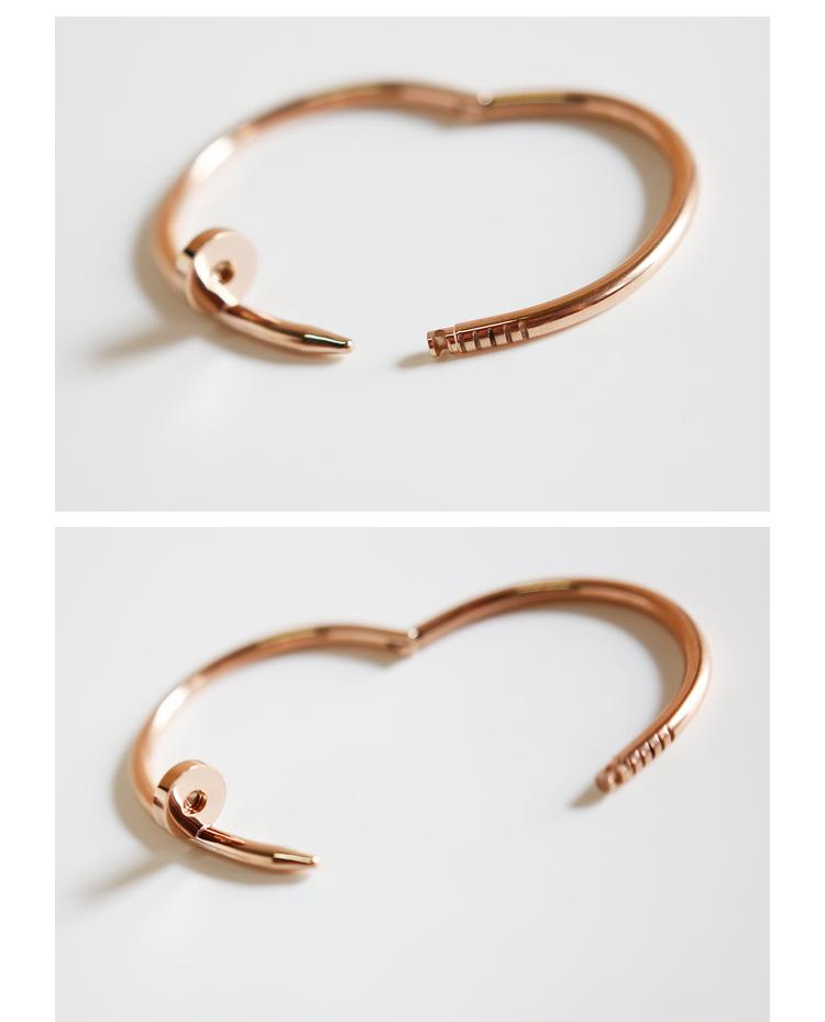 2017 New Arrival Top quality 18KGold/Rose Gold/Silver Nail Bangle for women with crystal