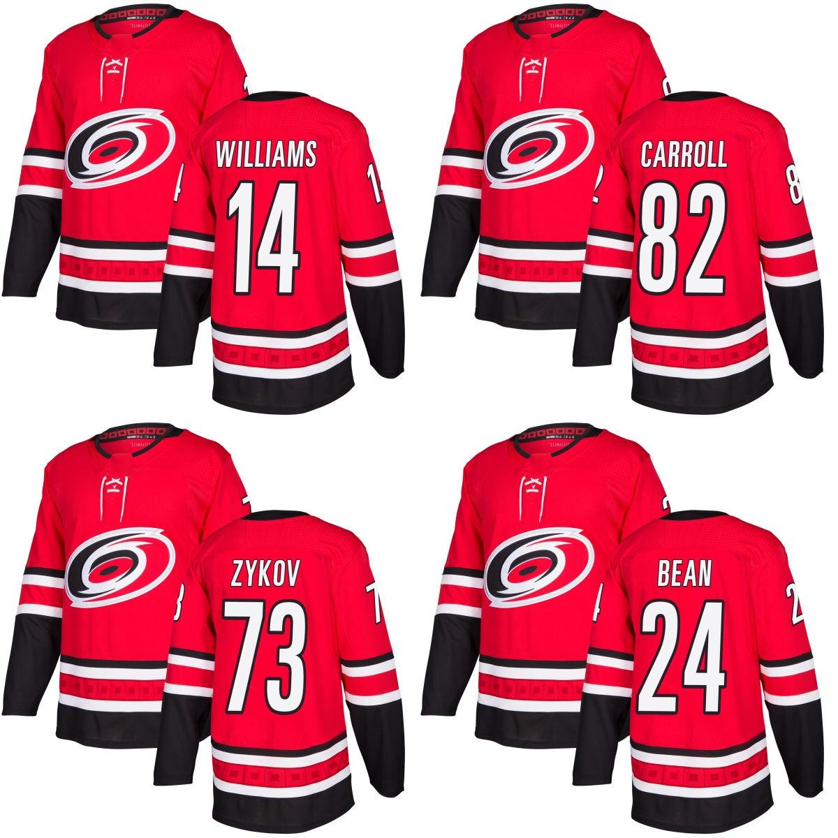 89c9e9b01 2019 2017 New Brand Adults Carolina Hurricanes 14 Justin Williams 24 Jake  Bean 73 Zykov 82 Noah Carroll Best Red Ice Hockey Jerseys Accept Custom  From ...