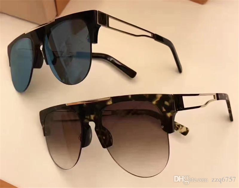 3531acffc89 New Fashion Sunglasses Half Frame Frame Mirror Legs Hollow Anti-UV ...