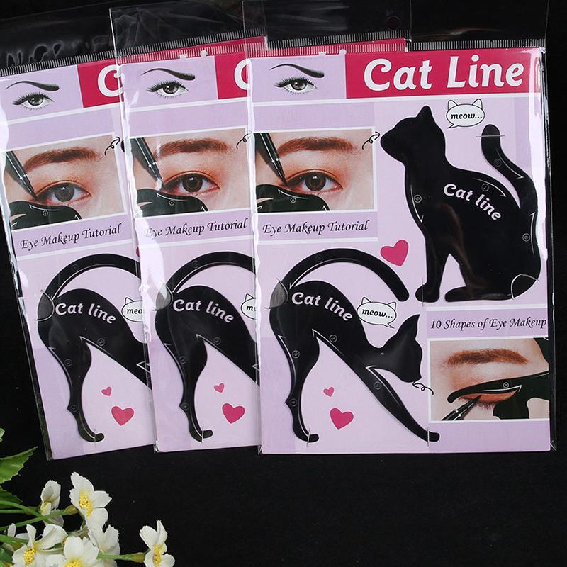Sıcak Popüler Kolay Göz Farı Eyeliner Makyaj Araçları Kedi Eyeliner Stencil Seti Makyaj Kart Şablonu