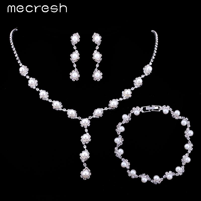 Mecresh Simulated Pearl Bride Wedding Jewelry Sets Simple Crystal