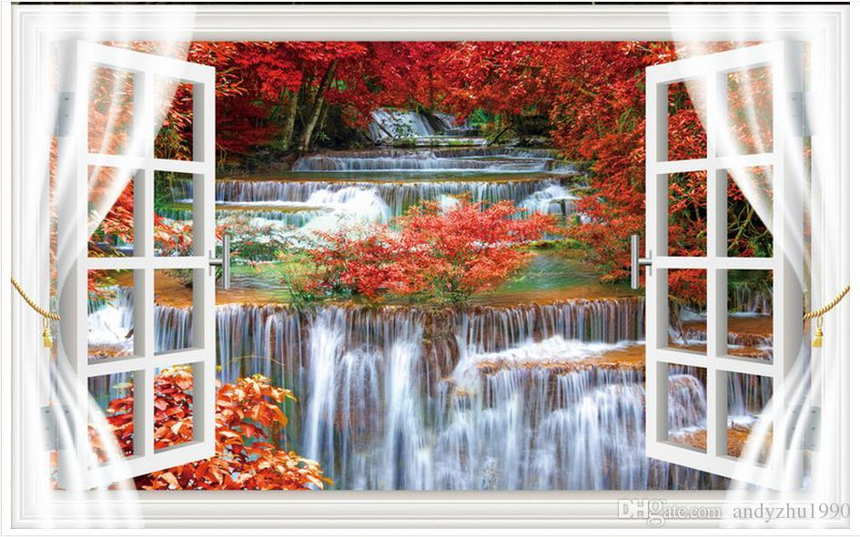 3D photo wallpaper custom 3d wall murals Beauty TV setting wall outside the window 3d living room wall decor