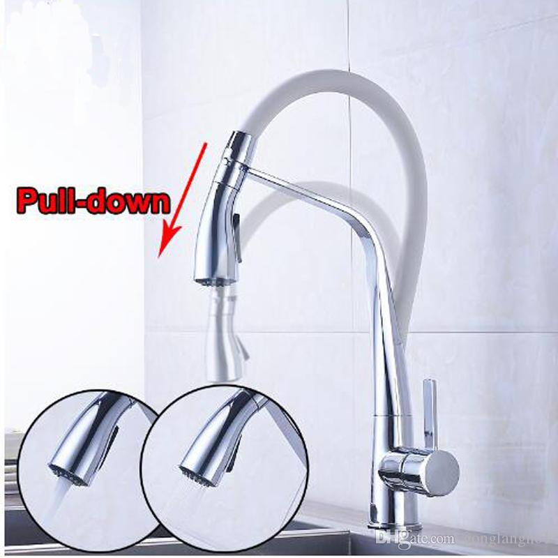 2019 Promotion White And Chrome Kitchen Faucet Pull Down With Two