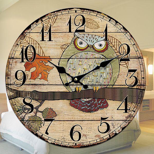 Animal Cartoon Design Wall Clocks No Frame Round Wooden Wall Clock