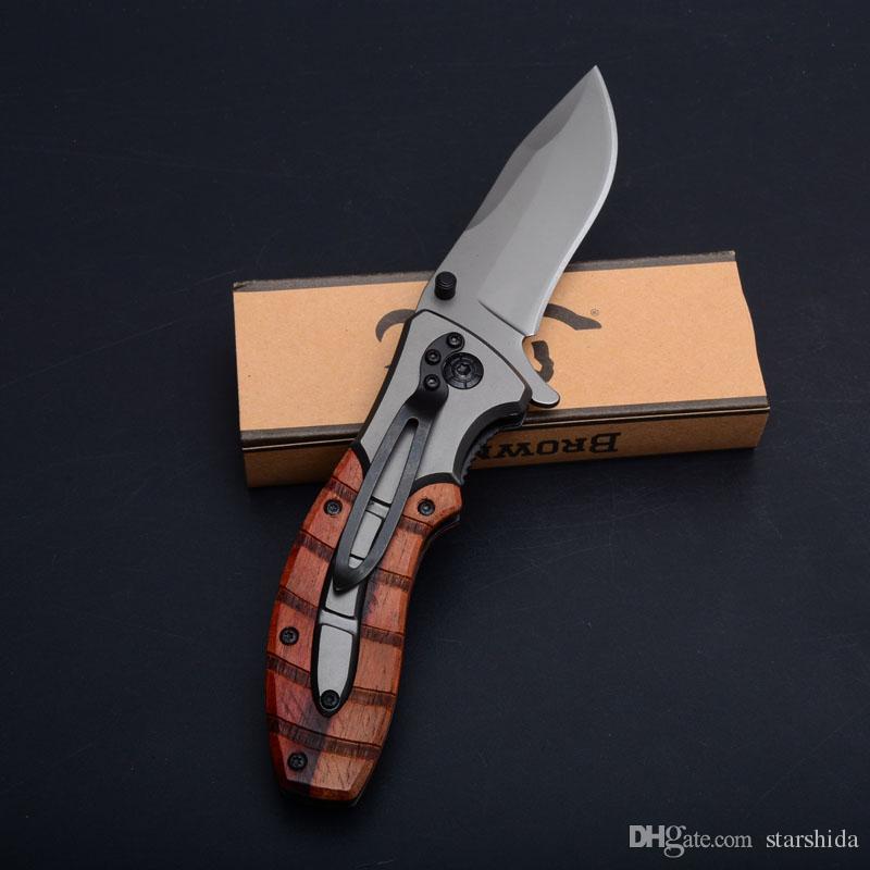 Browning X47 Titan taktischer faltendes Messer Flipper im Freien kampierende Jagd-Überlebens-Taschenmesser Holzgriff Military Utility-EDC-Tools