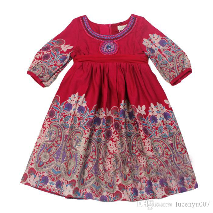 5e6b3db83 2019 2 8Y Monsoon Girls Dress Lantern Cuffs Print Mid Sleeve Double Layer Dress  Kids Clothing Cotton Toddler Girl Dresses Disfrace From Lucenyu007, ...