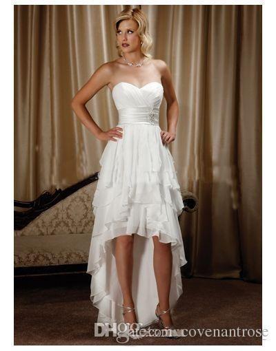 Robes de mariée chérie en mousseline de soie haut bas robes de mariée pas cher longue plage arrière