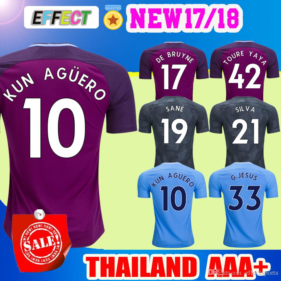 ceeac46bebe Best Quality Kun Aguero Soccer Jersey 2018 Purple City Jersey Kompany Toure  Yaya De Bruyne Sane Mendy Sterling Silva Jesus 17 18 Man Football Shirts At  ...