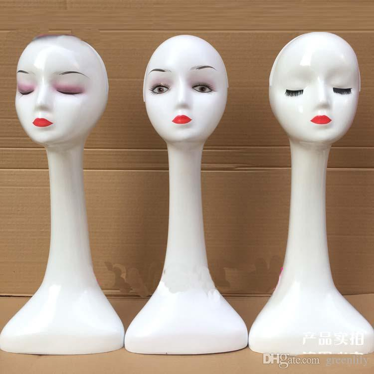 Plastic Long Neck Wig Display Mannequin Head Shop Window Model Show Shelf for Jewelry and Scarf Display