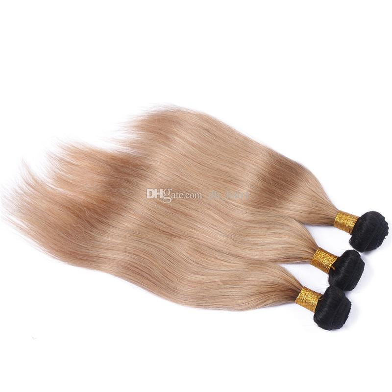 Honey Blonde Weave Bundles Brazilian Ombre Human Hair 1B 27 Silk Straight Cheap Two Tone Ombre Brazilian Hair Straight