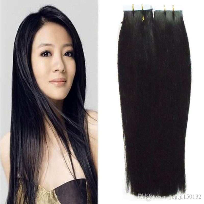 Применить ленту клей кожи утка волос естественный цвет бразильский прямые волосы 40 штук 6а 100 г кожи утка ленты наращивание волос