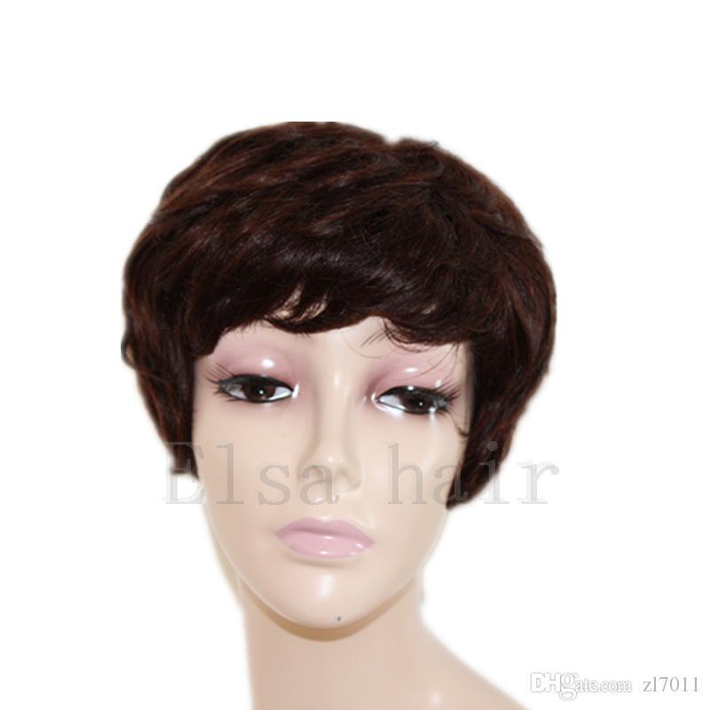 100% unverarbeitete reine brasilianische glueless volle Spitze kurze Menschenhaarperücken mit Pony kurze Spitzefrontseitenperücke für schwarze Frauen