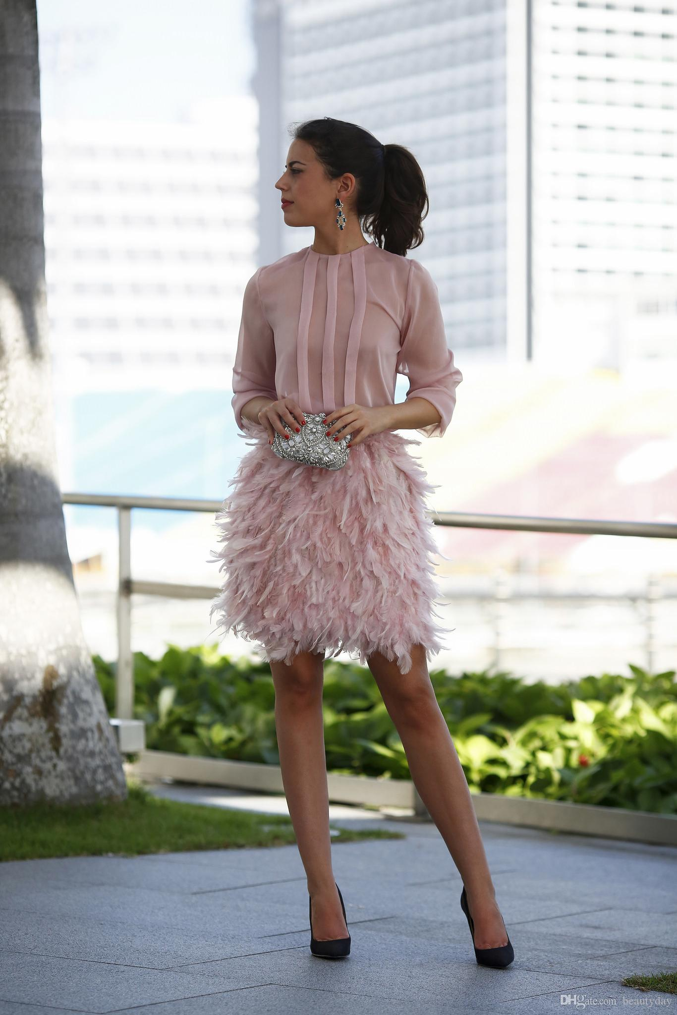 vintage blush Feather Short Prom Dresses 2019 rosa maniche lunghe schiena aperta con fiocco abiti da sera arabo dubai abiti da cocktail party