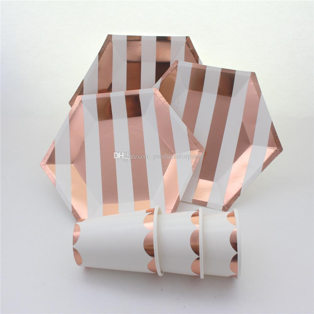 2019 foil rose gold striped tableware party supplies party decorations disposable paper plates - Rosegold dekoration ...