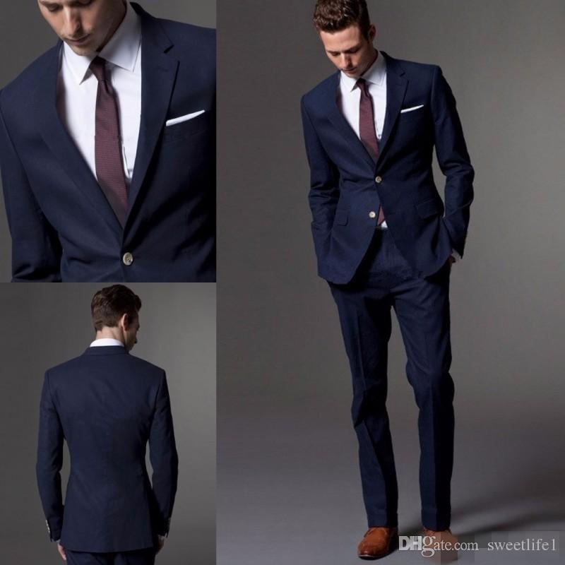 Custom Made Dark Blue Men Suit Tailor Made Suit Bespoke Light Navy