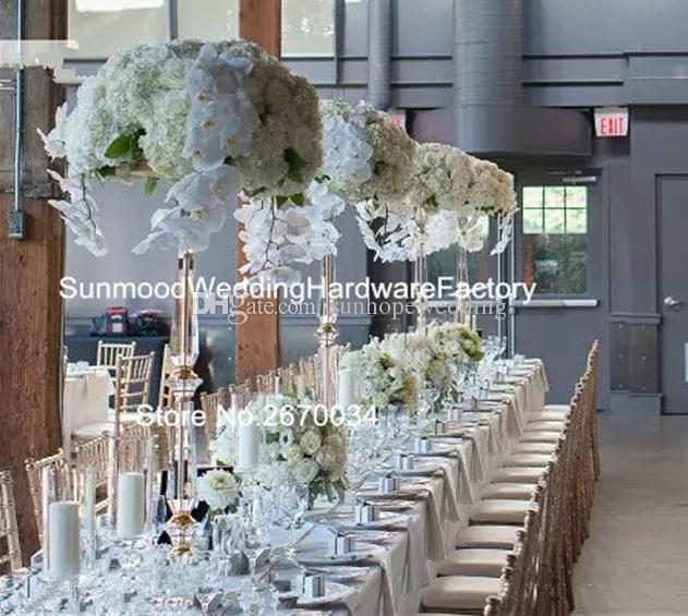 Uzun kristal avize standı, gümüş / altın demir temizle çiçek düğün koridor için standı dekor