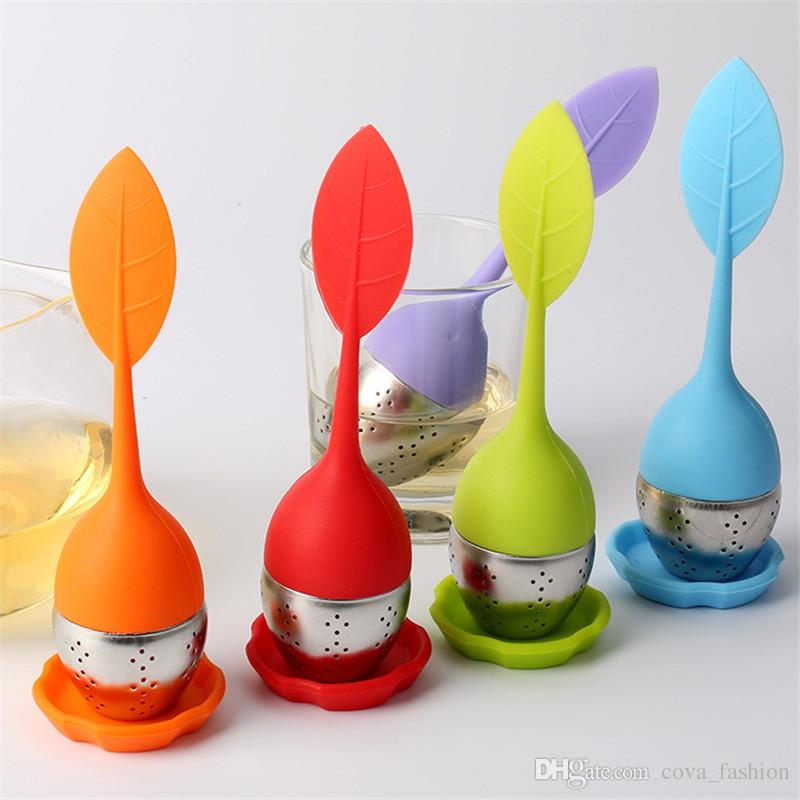 New Silicone Stainless Steel Cute Leaf Tea Strainer Herbal Spice Tea Infuser Filter leakage