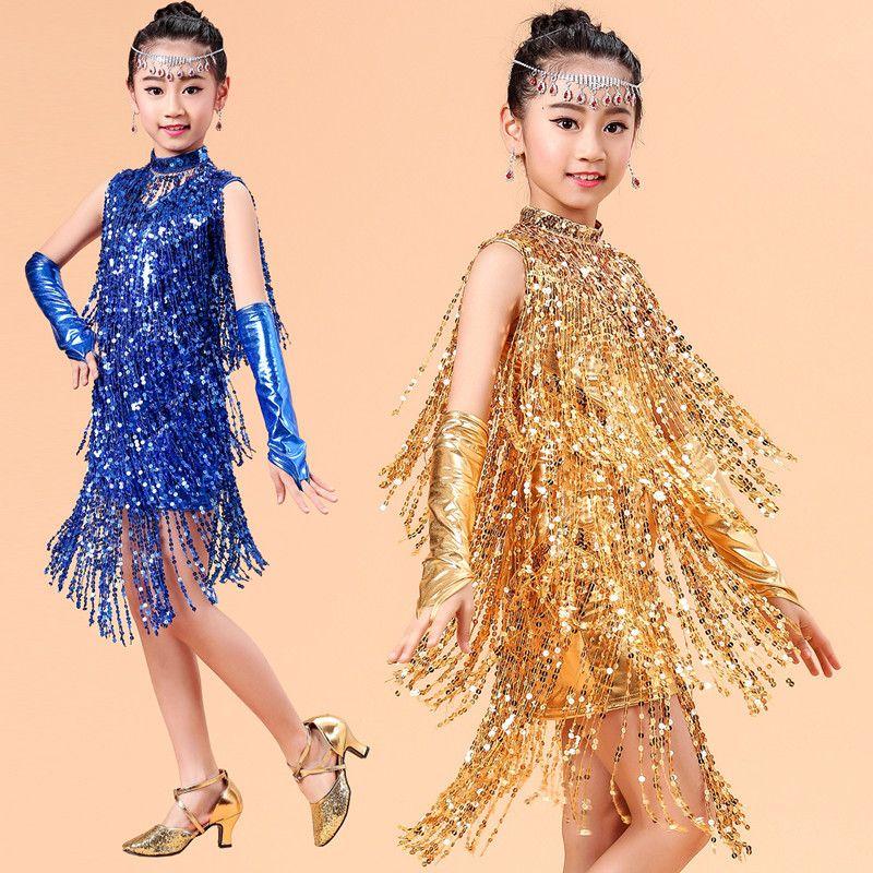 710294ab6e492 New children Kids Girls Latin dance dress samba tango Cha Cha ballroom  costumes Practice Dance Sleeveless Gold/Blue/Red Sequin Tassel Dress