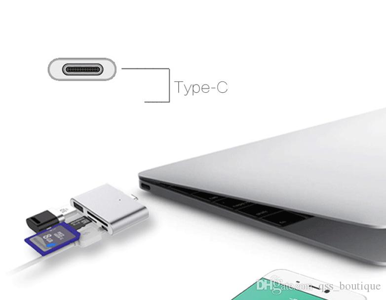 AULID USB 3.1 Type C OTG Hub Card Reader Aapter to USB/TF/SD/ Micro USB for Phone/Computer/Macbook