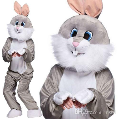 Traje de la mascota de conejito de Pascua traje de conejito de conejo la historieta masculina y femenina