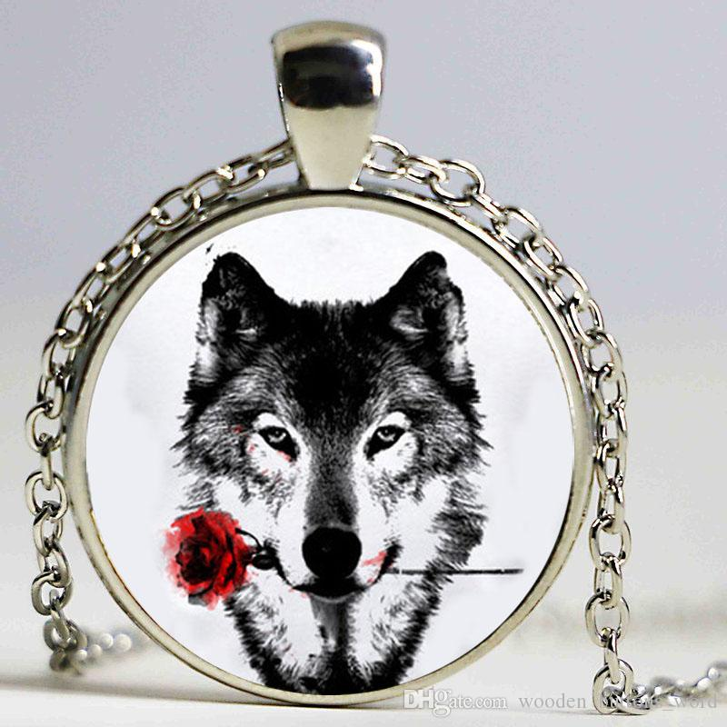 Wholesale Black Painting Wolf With Rose Flower Necklace Cameo Animal