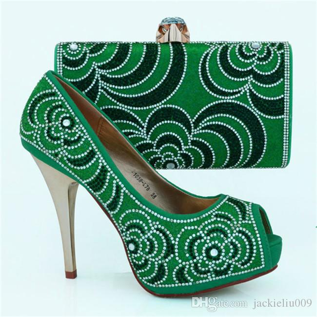 Padrão de strass lindo salto alto 12 CM senhoras bombas africano sapatos jogo de bolsa conjunto para o vestido de festa 1308-L78 roxo