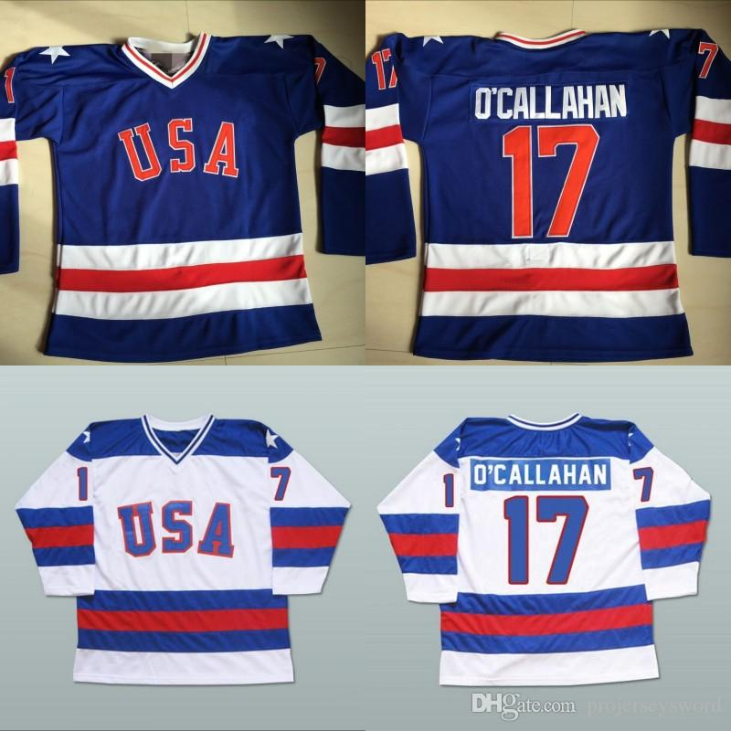 2019  17 Jack O Callahan 1980 Miracle On Ice Hockey Jersey Mens 100%  Stitched Embroidery Logos Team USA Hockey Jerseys Blue White From  Projerseysword ed883ec9a