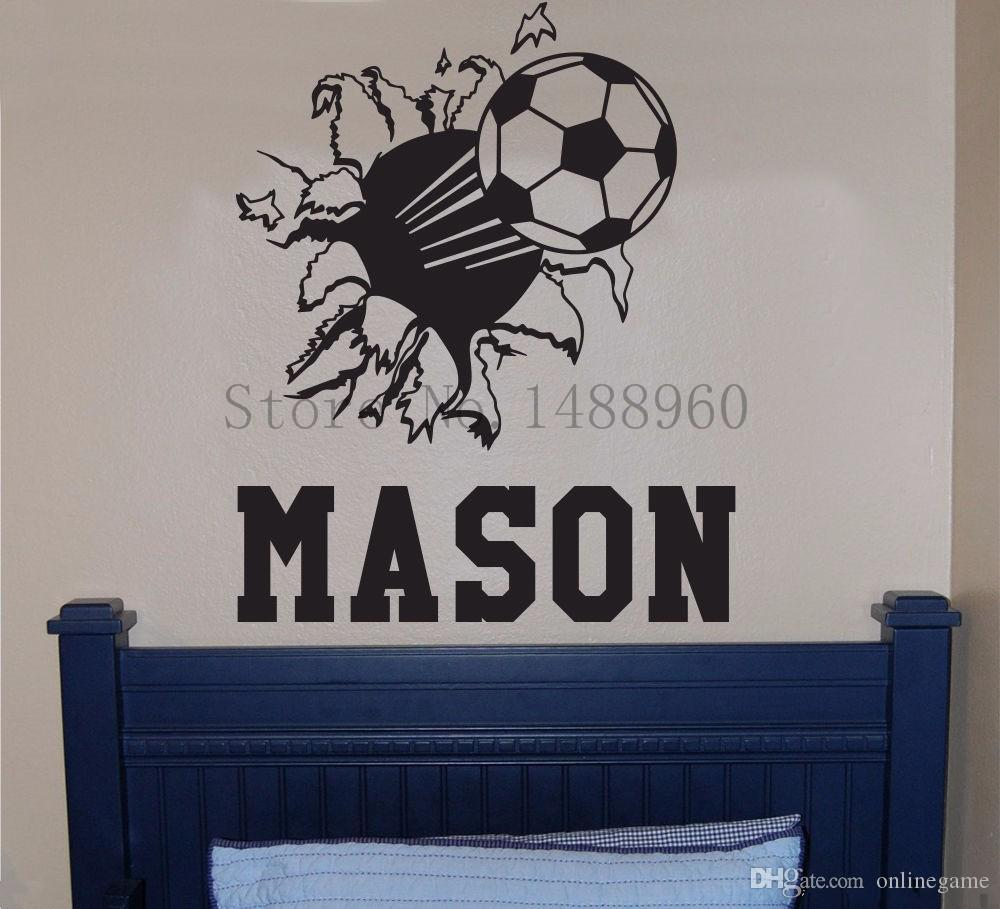 Personalised Name Wall Stickers Home decor DIY poster Vinyl Art Mural Decals Sportball Bursting Through Wall Stickers Basketball football