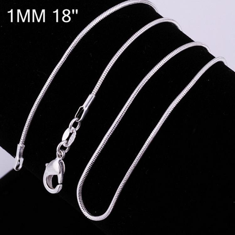 1mm 925 Ayar Gümüş Pürüzsüz Yılan Zincirleri Kadın Kolye Takı Yılan Zincir Boyutu 16 18 20 22 24 26 28 30 inç Toptan