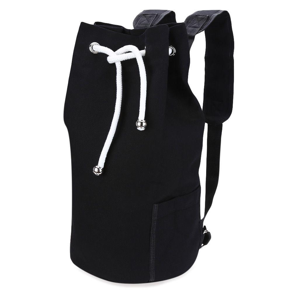 90e6f0410d8 Canvas Drawstring Bucket Gym Bag Portable Backpack Unisex Training ...