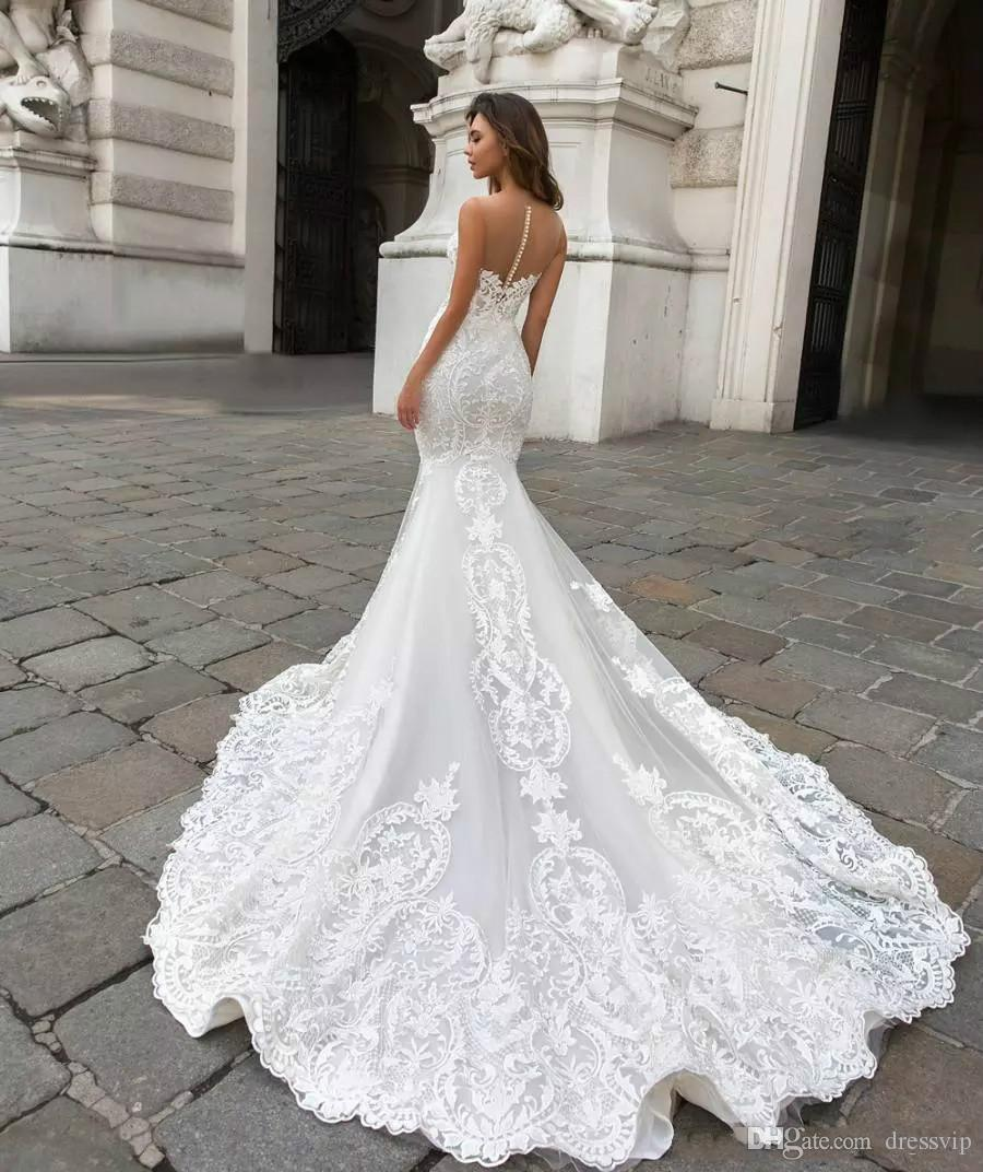 2019 magnífico vestidos de boda del cordón de la sirena con el cabo Sheer Hundiendo cuello de Bohemia del vestido de boda apliques más el tamaño de novia Vestidos de novia