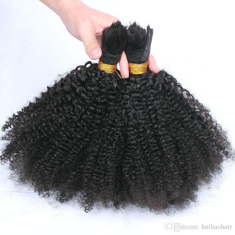 Natural Mongólio Afro Kinky Bulk Hair 300g Kinky Afro Cabelo Bulk Cabelo Humano Para Bulk Bulk Sem Anexo Kinky Curly