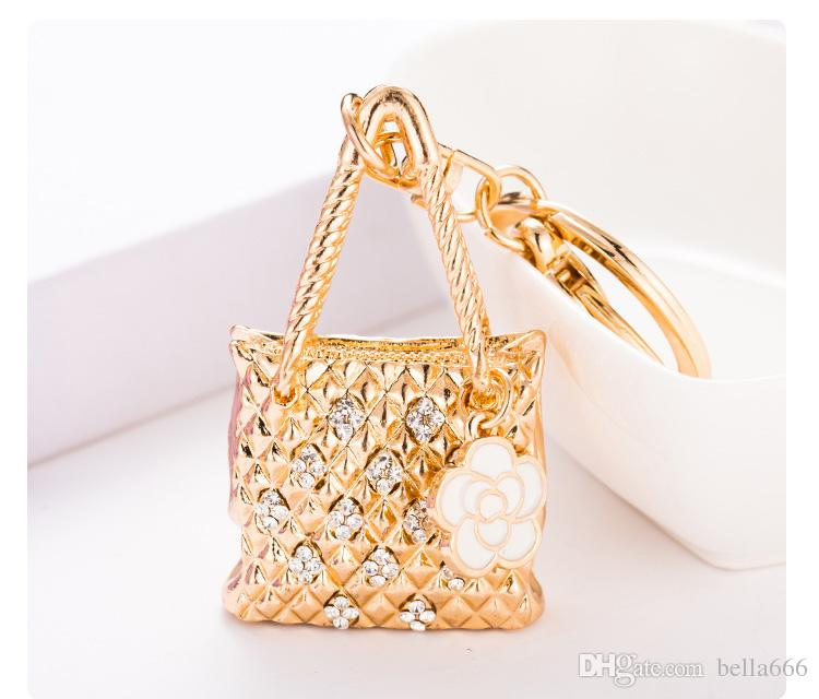d00dcd5915e9 2018 Autumn Winter New Environmentally Fashion Jewelry Handbag Car Keychain  Pendant Key Ring Alloy Rhinestone Key Chain Ornaments Pendants Gift From ...
