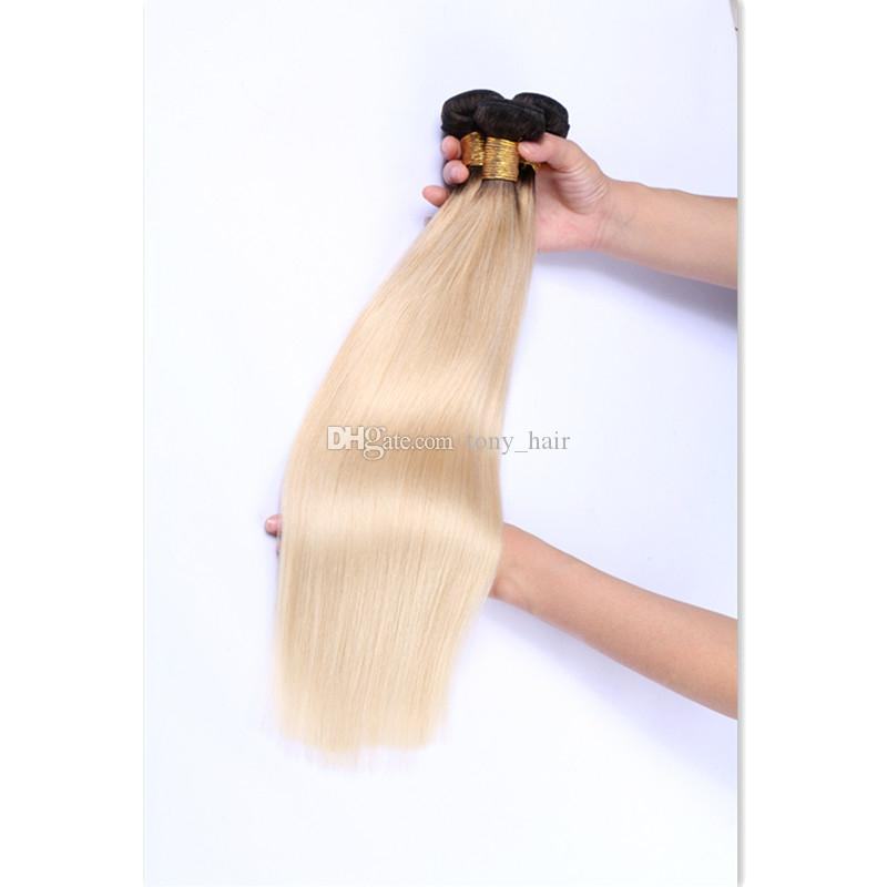 Platinum Blonde Dark Roots Ombre Straight Brazilian Hair #1B/613 Ombre Two Tone Human Hair Weave Bundles Dhl Free