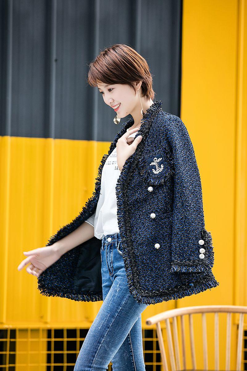 Frauen Samt sexy elegante OL V Kragen Tassel Perle Anzug Boutique berühmte Mode Marke weiche Damen klassische Tweed Baumwolle dünne dünne Jacke