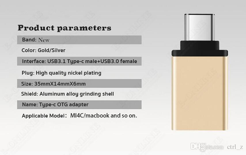 Metal USB 3.1 Tipo C Adaptador OTG macho a USB 3.0 A Adaptador convertidor hembra Función OTG para Macbook Google Chromebook