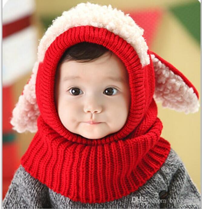 Christmas Gift Baby hats Pom knit yarn warm hat girls boys beanie winter toddler kids boy girl warm crochet cap scarf Scarves