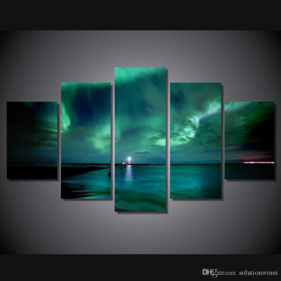Framed HD Printed Lights Landscape Wall Art For Kid Room Canvas Print Poster Canvas Pictures Painting