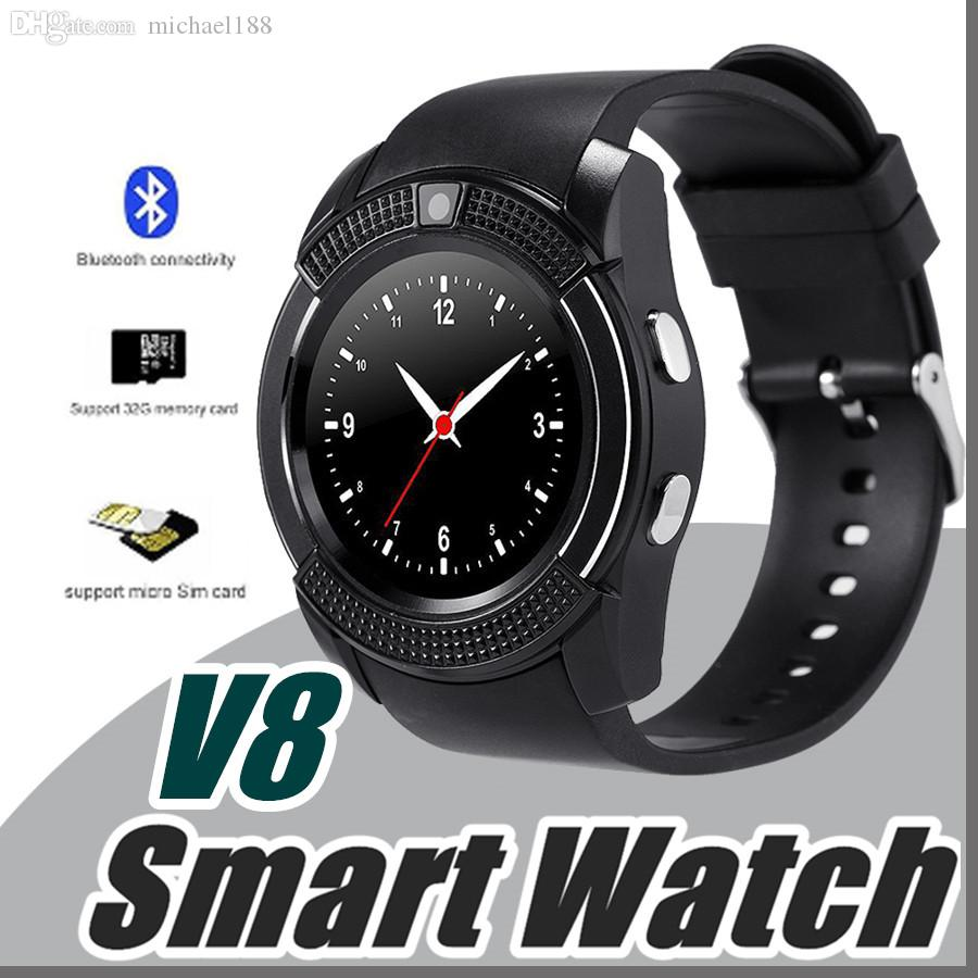 V8 Smart Watch Bluetooth Watches Android with 0 3M Camera MTK6261D DZ09  GT08 Smartwatch for android phone with Retail Package I-BS